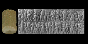 Early Dynastic II Cylinder Seal with Contest Scene