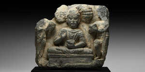 Figural Section with Buddha and Attendants