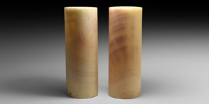 Large Alabaster Candle Up-Lighter Pair