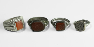 Inscribed Intaglio Gemstone Ring Group