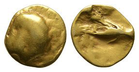 Gallo-Belgic - Gold Geometric Uniface Tree Quarter Stater