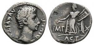 Augustus - Actian Apollo Denarius