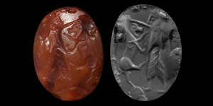 Figural Stamp Seal with Figure and Lion