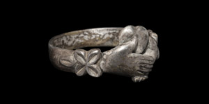 Silver Ring with Heart and Clasped Hands