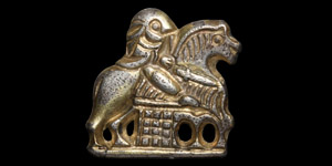 Gilt Silver Horse and Rider Mount