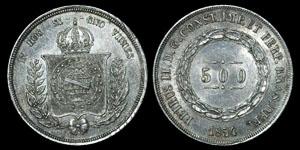 World Brazil - Pedro II - 1854 - 500 Reis