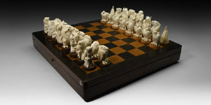 Siberian Carved Fossil Mammoth Tusk Chess Set