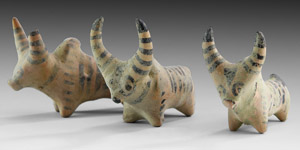 Painted Votive Bull Group