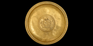 Gold Libation Dish with Offering Scene