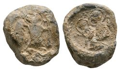 Lead Seal with St Michael and Mary Holding Christ