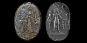Lapis Lazuli Scarab with Pharaoh