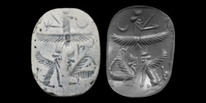 Stamp Seal with Winged Lion and Lamassu