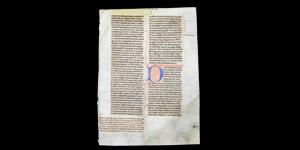 English Bible Manuscript Leaf with Monkey