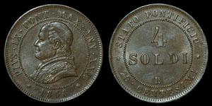 World Italy - Vatican - Pius IX - 1868 - 4 Soldi