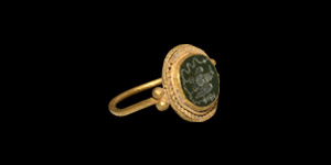 Gold Ring with Eagle Gemstone