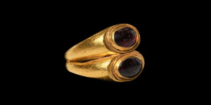 Gold Double Bezel Ring with Garnets