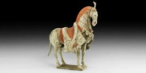 Qi Walking Caparisoned Horse Figure