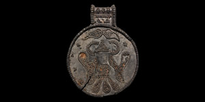 Silver Filigree Pendant with Two-Headed Raven