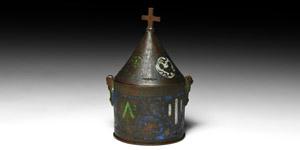Limoges Heraldic Lidded Pyxis
