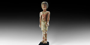 Striding Polychrome Wooden Figure