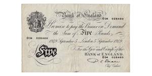 Bank of England - 5 September 1949 - Beale White £5