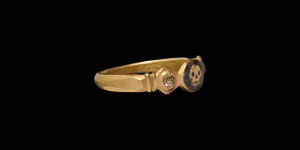Gold Skull Ring with Diamonds
