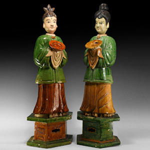 Chinese Ming Glazed Attendant Pair