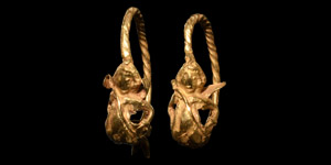 Gold Earring Pair with Eros