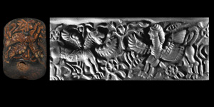 Achaemenid Cylinder Seal with Lion-Dragon and Winged Sphinx