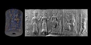 Old Akkadian Cylinder Seal with Presentation Scene