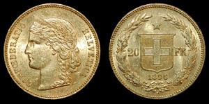 World Switzerland - 1896 - Gold 20 Francs