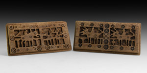Coptic Wooden Animal Plaque Pair