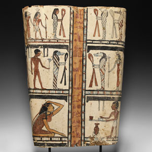 Egyptian Painted Cartonnage with Figural Panels