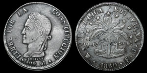 World Bolivia - 1860 - 8 Soles