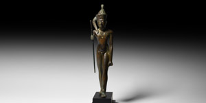 Statuette of the God Ihy with Gold Necklace and Silver Inlaid Eyes