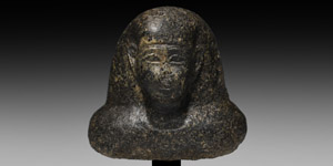 Diorite Bust of a Dignitary with Hieroglyphic Inscription