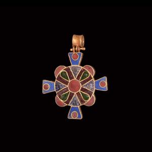 Enamelled Gold Cross Pendant