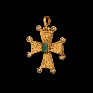 Gold Cross Pendant with Pearls