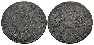 Ireland - James II - OCT: 1689 - Gunmoney Large Halfcrown
