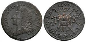 Ireland - James II - May. 1690 - Gunmoney Small Halfcrown