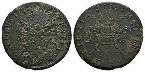 Ireland - James II - Sepr: 1690 - Gunmoney Large Halfcrown
