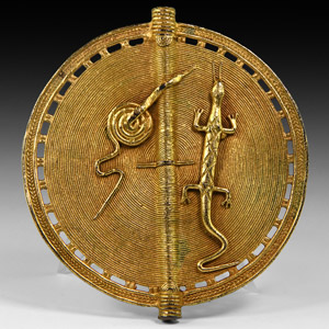 Gilt Disk Fitting with Lizard and Snake