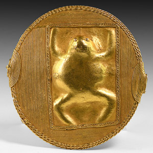 Gilt Roundel Fitting with Toad