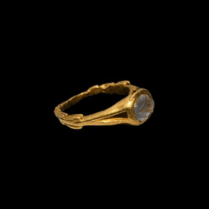 Gold Ring with Carved Moonstone