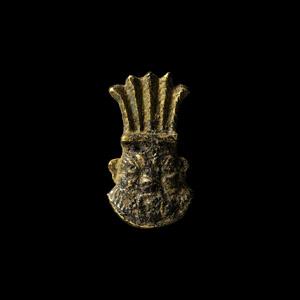 Gold Bes Head Amulet