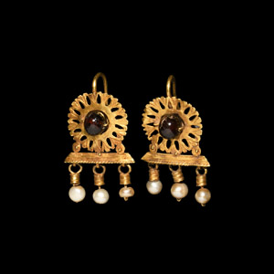 Gold Earrings with Garnets and Pearls