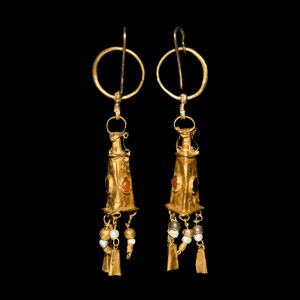 Hellenistic Gold Earrings with Amphora Drops