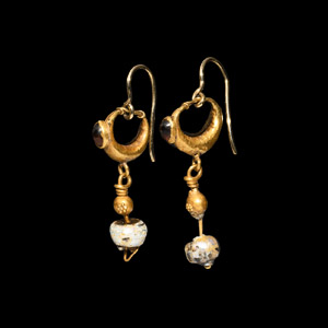 Gold Hoop Earrings with Garnets and Glass Bead Drops