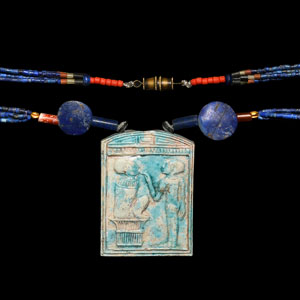 Egyptian Bead Necklace with Tablet Pendant