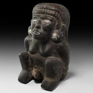 Toltec Basalt Birthing Figure